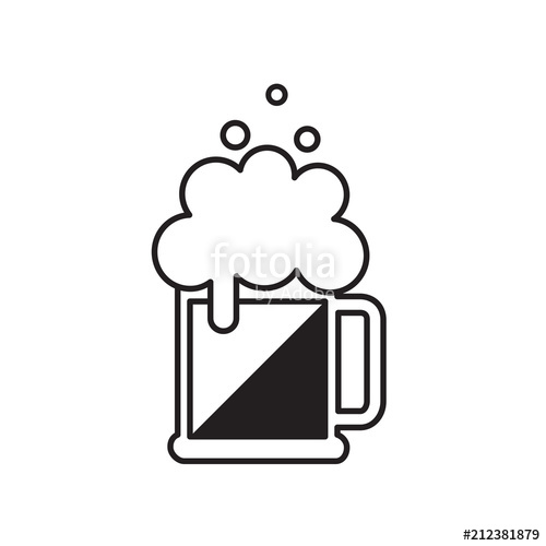 500x500 Beer Mug With Foam. Vector Black Beer Icon. Symbol Template Logo
