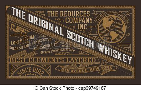 450x291 Vintage Label Design For Whiskey And Wine Label, Restaurant Banner