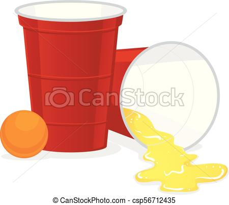 450x403 Red Beer Pong Plastic Cup With Ball And Spill Of Beer. Vector