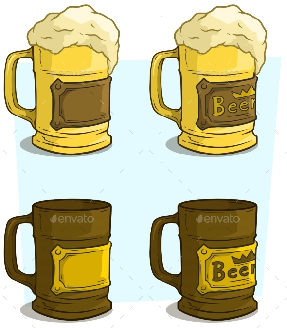 590x673 Cartoon Beer Mugs With Label Vector Icon Set By Gb Art Graphicriver