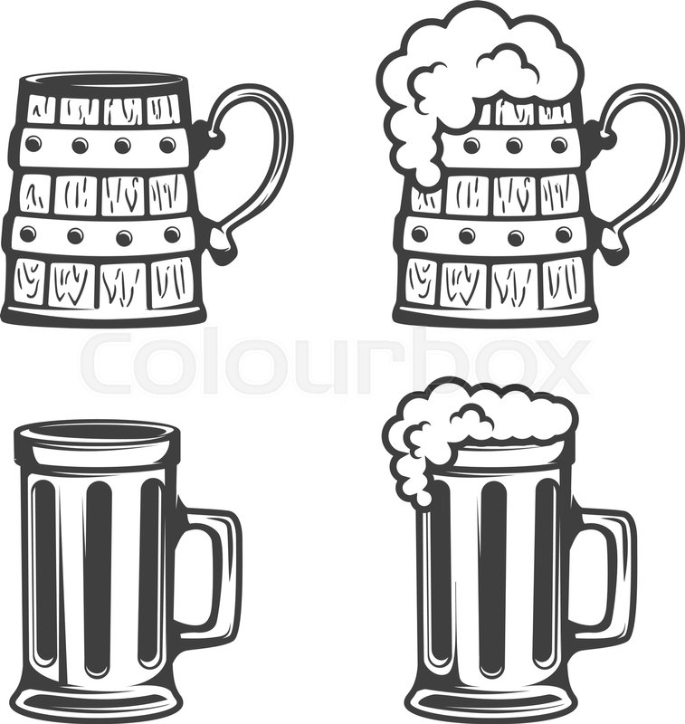 757x800 Set Of Beer Mugs Icons Isolated On White Background. Vector