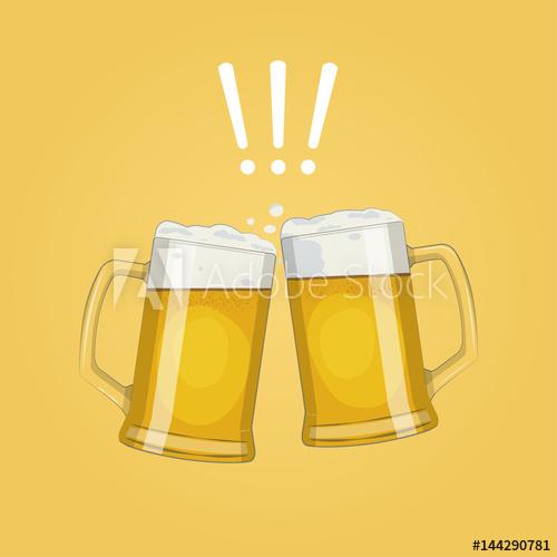 500x500 Two Glass Beer Mugs. Cheers.oktoberfest. Vector Illustration