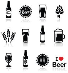 219x235 Beer Vector Icons Set