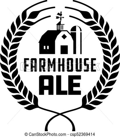 413x470 Farmhouse Ale Badge Or Label. Craft Beer Vector Design Features