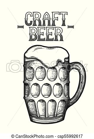 317x470 Graphic Glasses Of Beer. Graphic Pint Of Beer. Vintage Vector