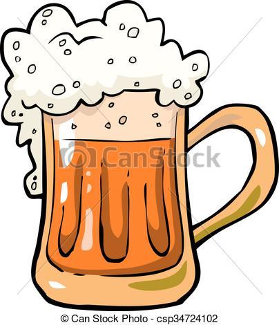 404x470 Mug Of Beer. Cartoon Mug Of Beer Foam Vector Illustration.