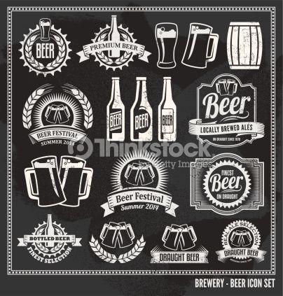 404x423 Vector Art Chalkboard Beer Icon Vector Design Set