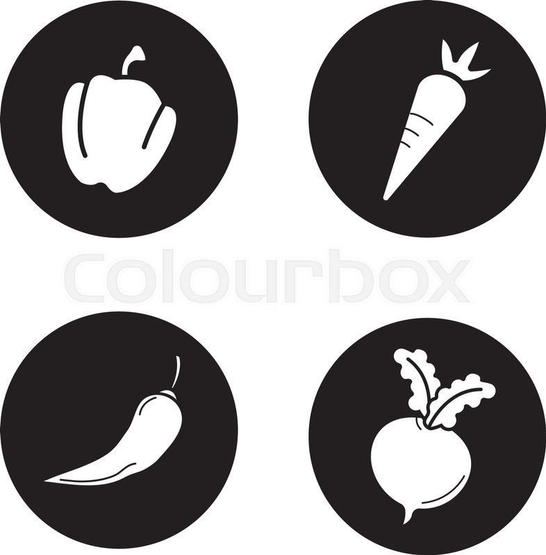786x800 Vegetables Black Icons Set. Bell Pepper, Carrot, Chilli And Beet