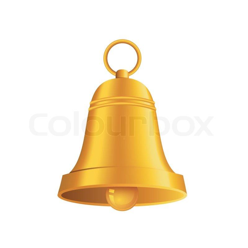 800x800 Vector Illustration Of Shiny Golden Christmas Bell Stock Vector