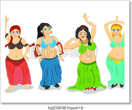 560x470 Free Art Print Of Belly Dancers Vector. Four Different Cartoon
