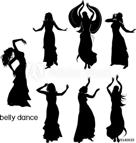 475x500 Set Of Silhouettes Of Dancers Of Belly Dance