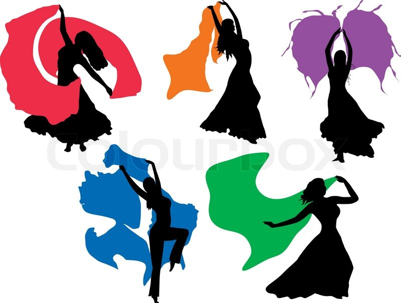 800x605 Vector Belly Dancing Black Woman Silhouette On White Stock