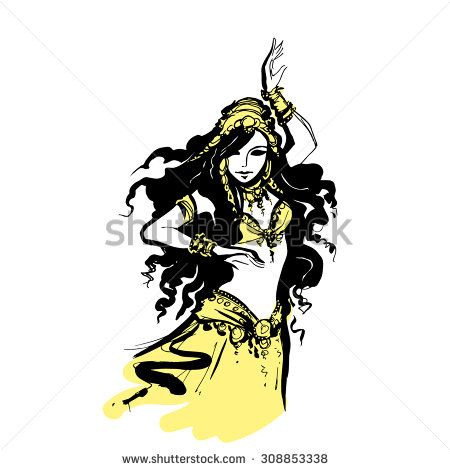 450x470 Oriental Belly Dancing, Vector Illustration Arab Dancer,