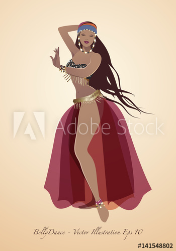 350x500 Beautiful Belly Dancer Wearing Exotic Clothes. Vector Illustration
