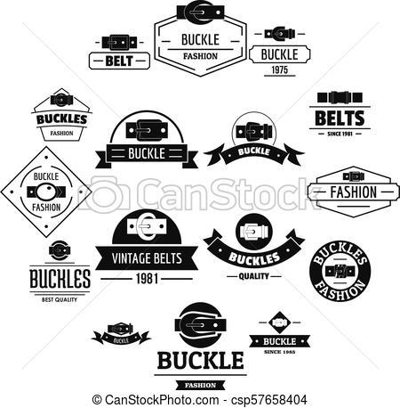 450x458 Belt Buckle Logo Icons Set, Simple Style. Belt Buckle Logo Icons