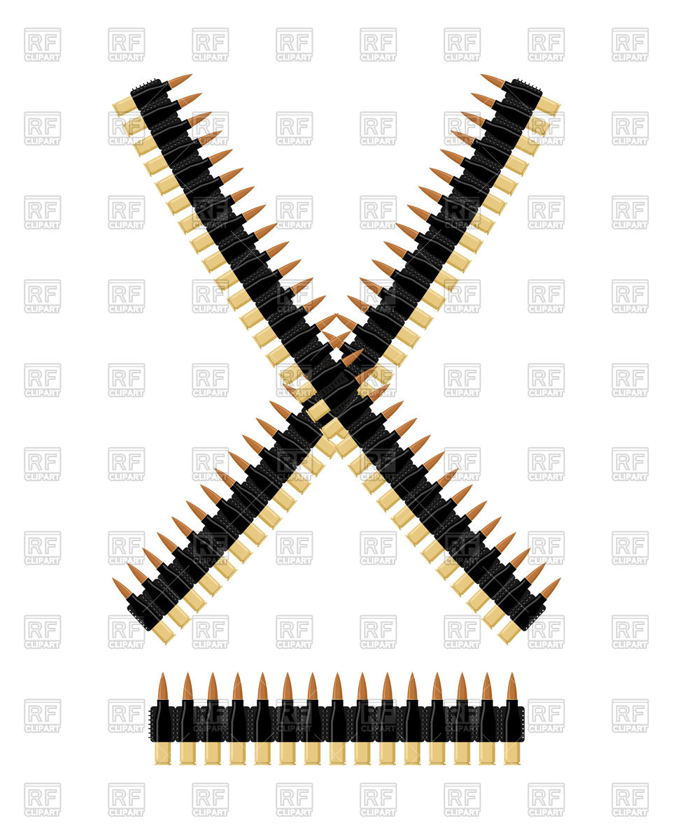 962x1200 Bandolier With Bullets. Ammunition Belt. Vector Image Vector