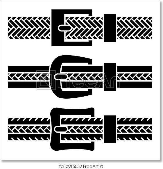 561x581 Free Art Print Of Vector Buckle Braided Belt Black Symbols
