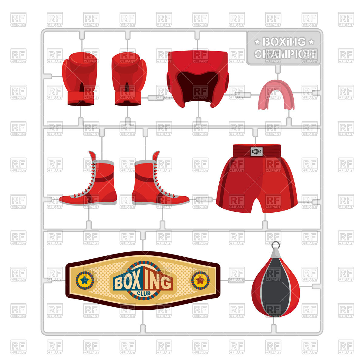 1200x1200 Set Of Boxing Gloves, Protective Helmet, Punching Bag And Winner