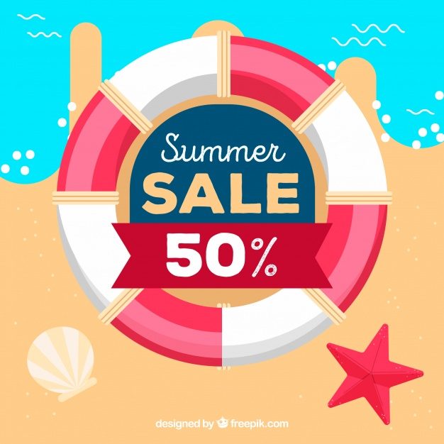 626x626 Summer Sale Background With Life Belt Vector Free Download
