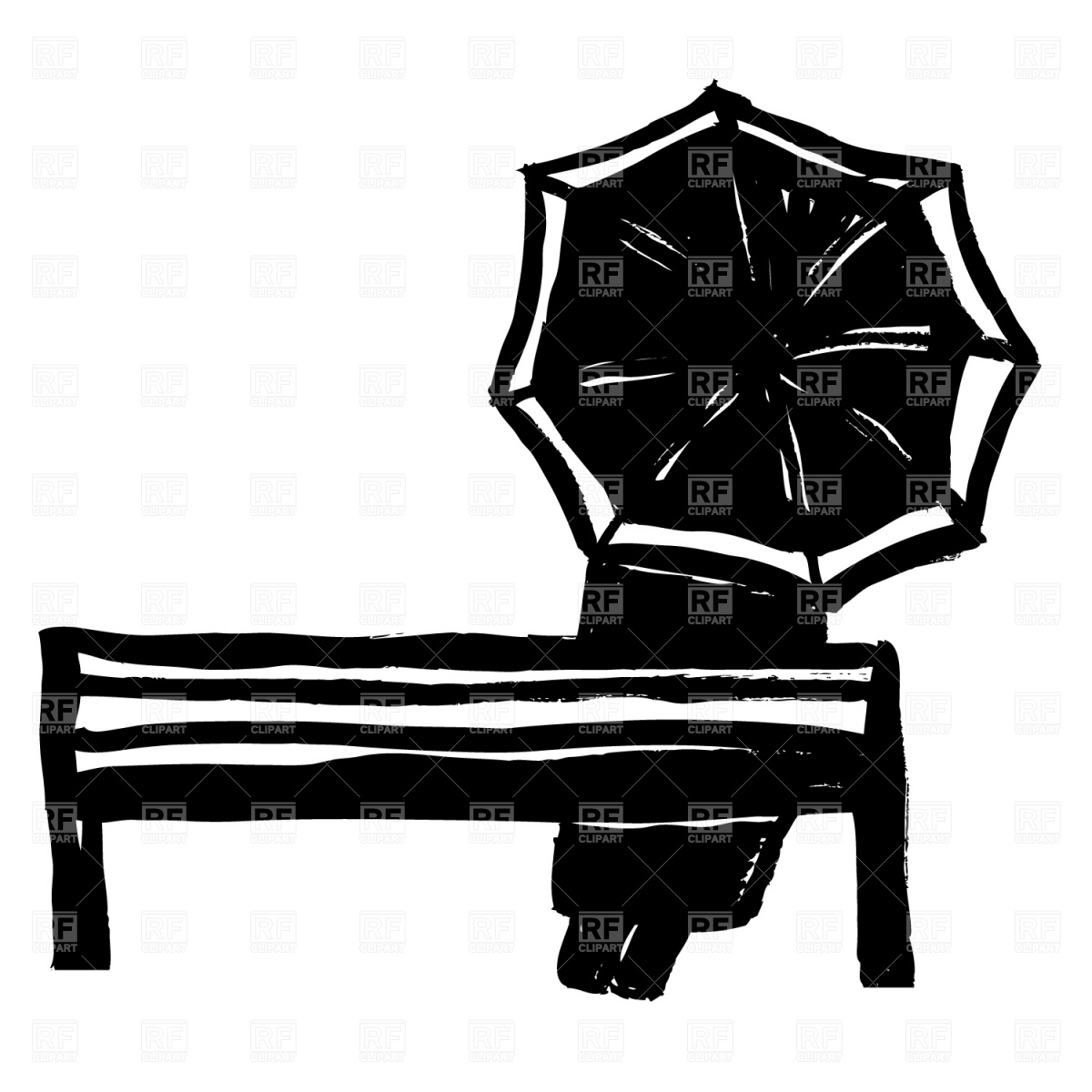 1200x1200 Man With Umbrella On The Bench Vector Image Vector Artwork Of
