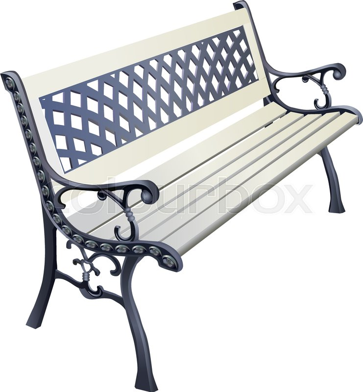 741x800 Park Bench Isolated Over A White Background, Wrought Iron Bench