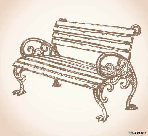 500x457 Park Bench. Vector Drawing