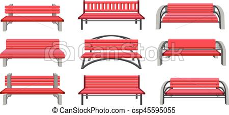 450x226 Set Park Benches. Vector Illustration Set Of Urban Park Bench On A