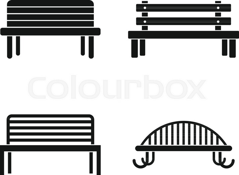 800x585 Bench Icon Set. Simple Set Of Bench Vector Icons For Web Design
