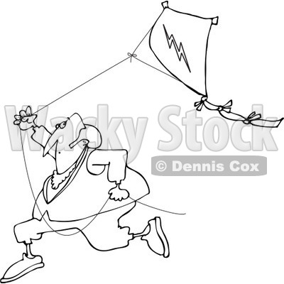 400x400 Clipart Of A Black And White Benjamin Franklin Running With A Kite