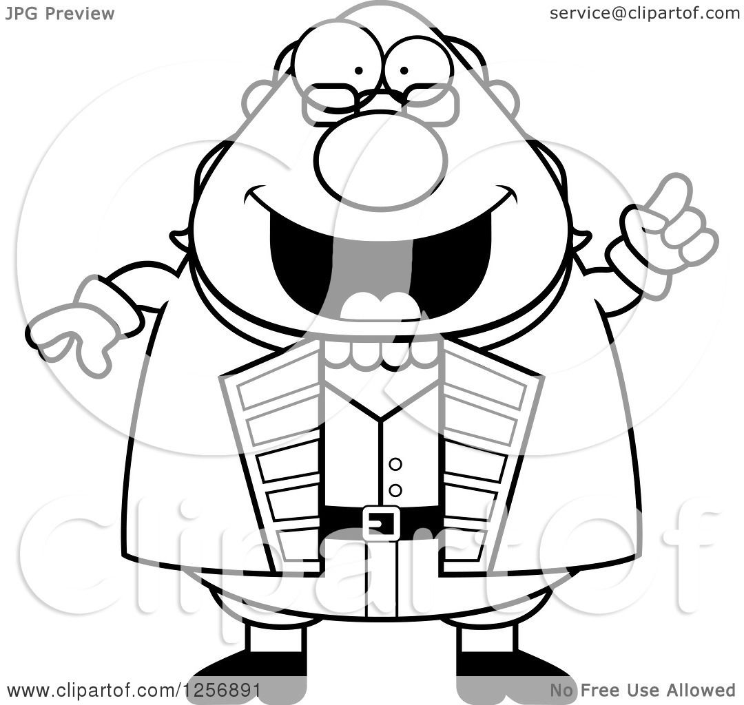 1080x1024 Clipart Of A Black And White Chubby Benjamin Franklin With An Idea