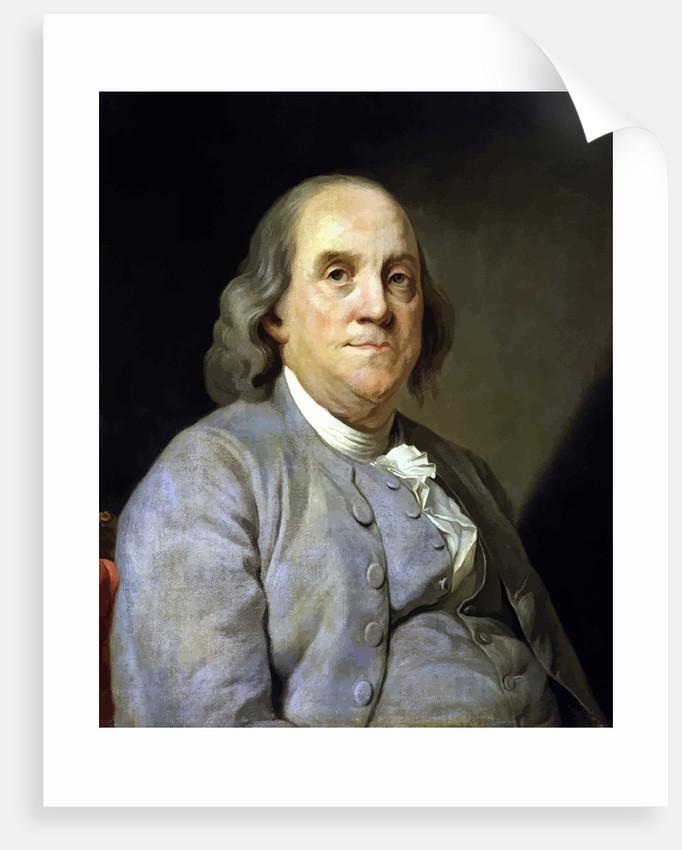 682x850 Digitally Restored Vector Painting Of Benjamin Franklin. Posters