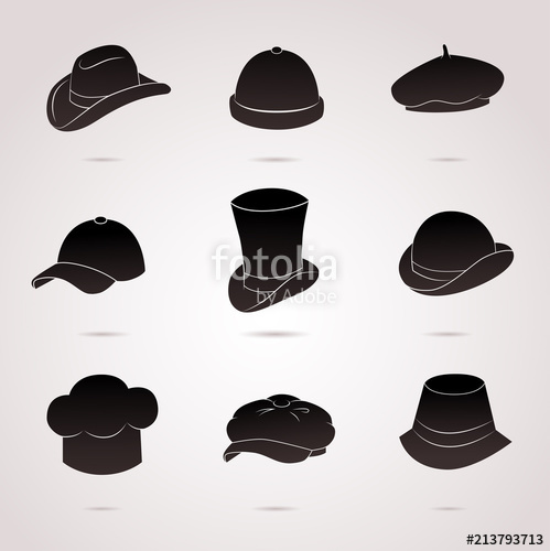 499x500 Collection Of Different Hats (Cap, Bowler, Beret Etc.). Vector Art
