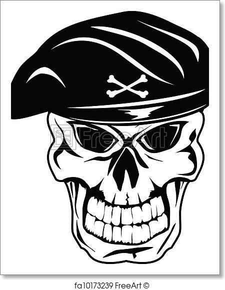 450x580 Free Art Print Of Skull In Beret. Vector Illustration Soldier