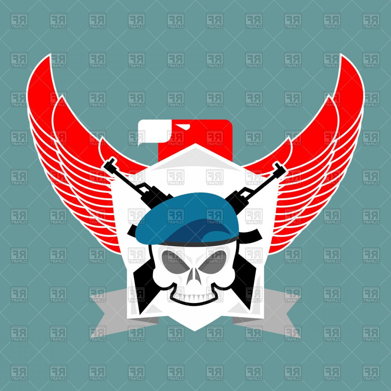 1440x1440 Military Emblem Skull In Beret Vector Clipart Shopatcloth