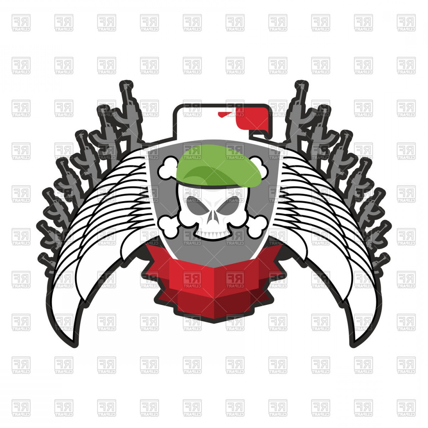 1440x1440 Military Emblem Skull In Beret Wings And Weapons Vector Clipart