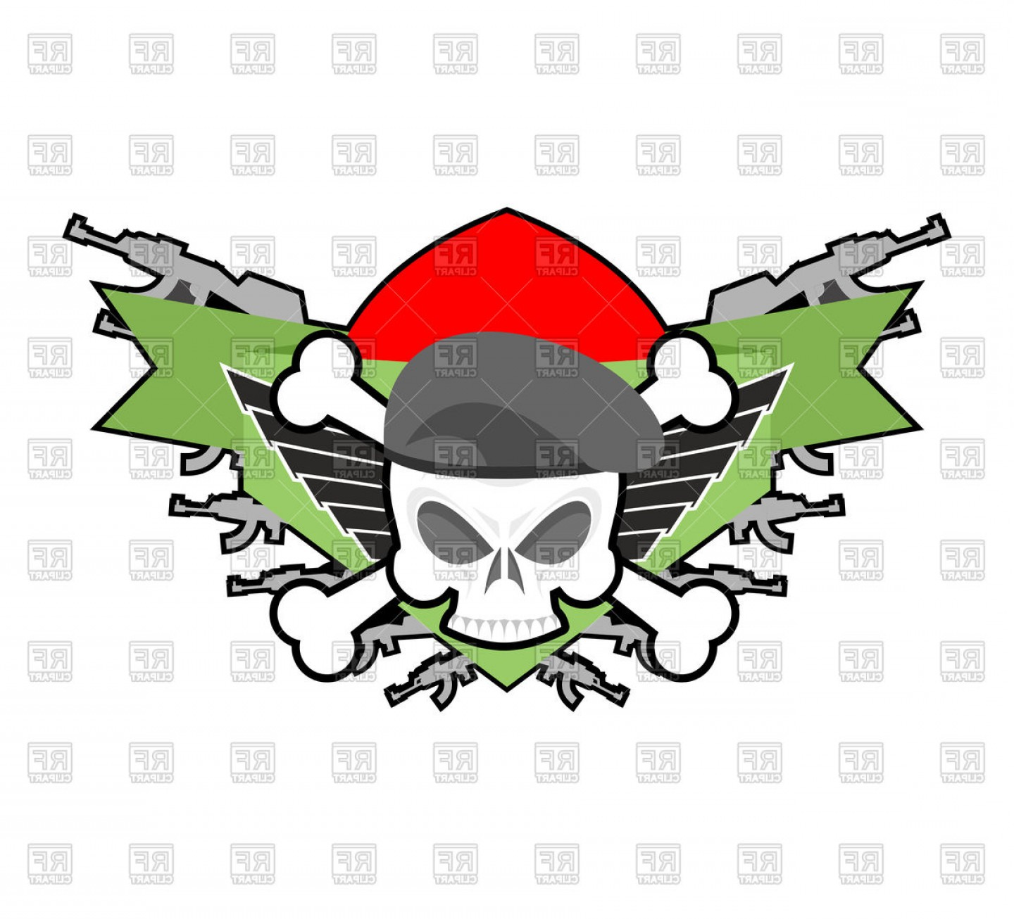 1440x1306 Military Emblem With Skull In Beret And Weapons Vector Clipart