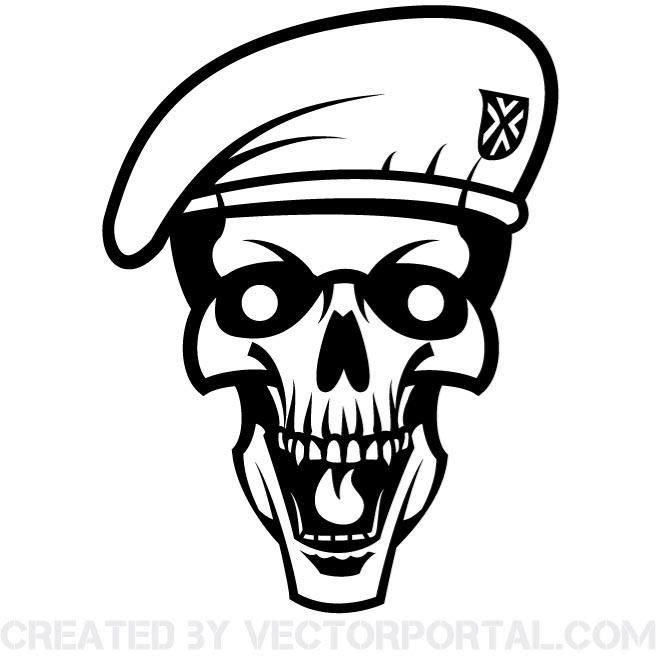 660x660 Skull With Beret Vector Image
