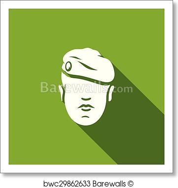 362x382 Art Print Of Maroon Military Beret Of Army Special Forces Icon
