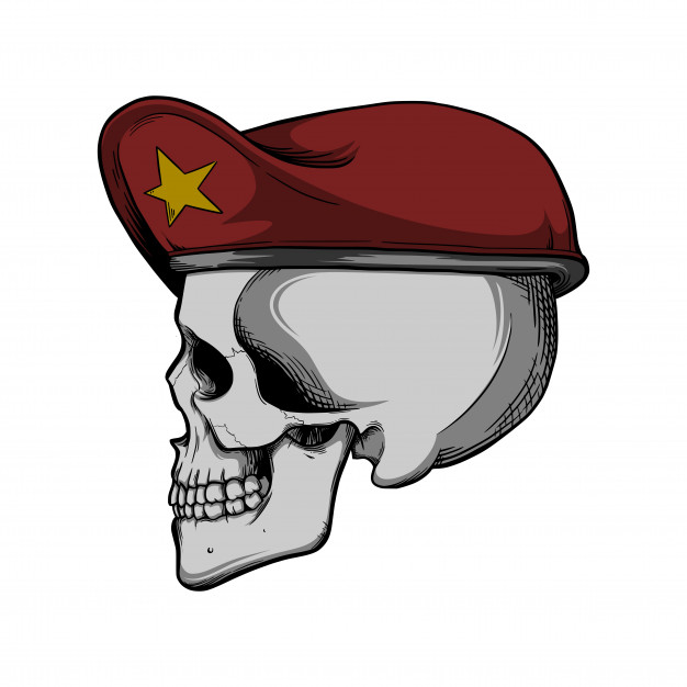626x626 Skull With Red Beret Vector Premium Download