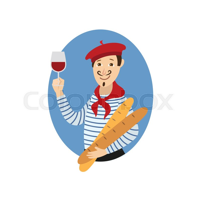 800x800 Vector Cartoon Young Man In Scarf, Striped Pullover, Beret Holding