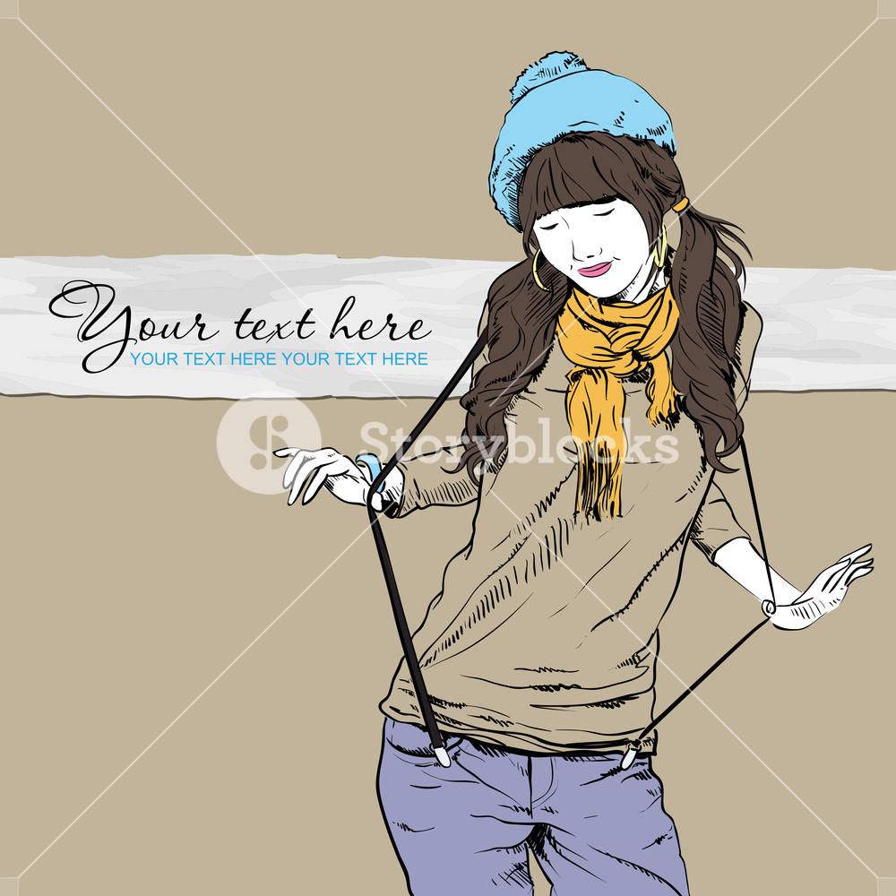 1000x1000 Autumnal Fashion Girl With Beret On A Grunge Background. Vector