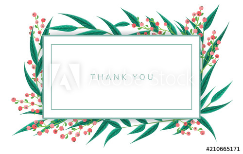 500x317 Minimal Thank You Note Frame With Green Leaf And Red Berry. Vector