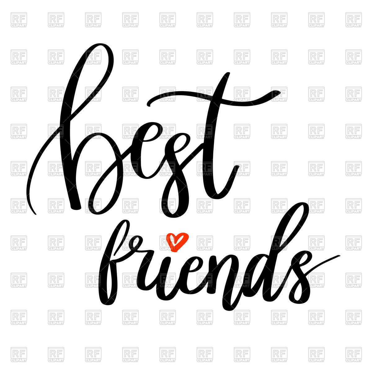 1200x1200 Best Friends Calligraphy Quote. Hand Lettering. Vector Image