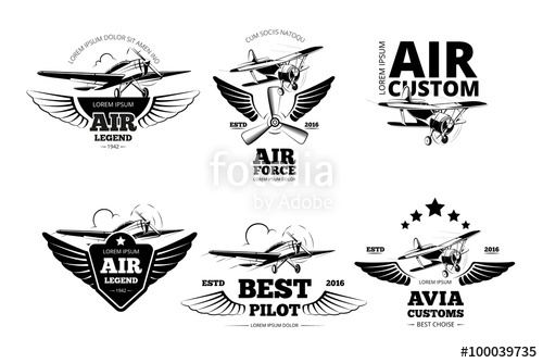 500x334 Airplane Emblems Vector Labels. Aviation Logo, Flight And Best