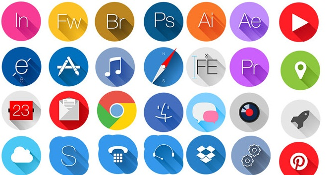 678x353 Best Free Flat Icons With Long Shadow