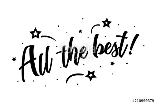 500x334 All The Best. Beautiful Greeting Card Poster, Calligraphy Black