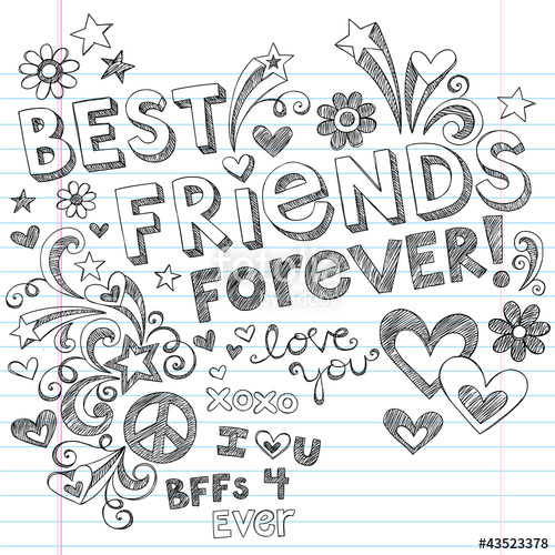 500x500 Best Friends Forever Sketchy Doodles Back To School Vector Stock