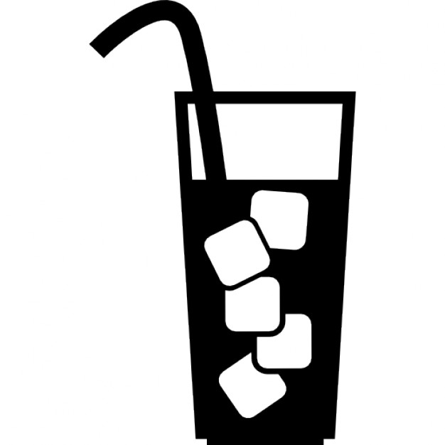 626x626 Glass With Beverage, Ice Cubes And Straw Icons Free Download