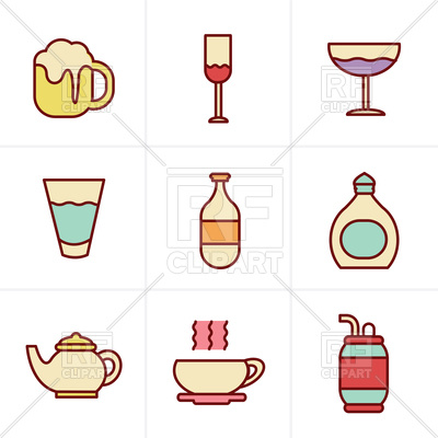400x400 Icons Style Of Beverage Vector Image Vector Artwork Of Food And
