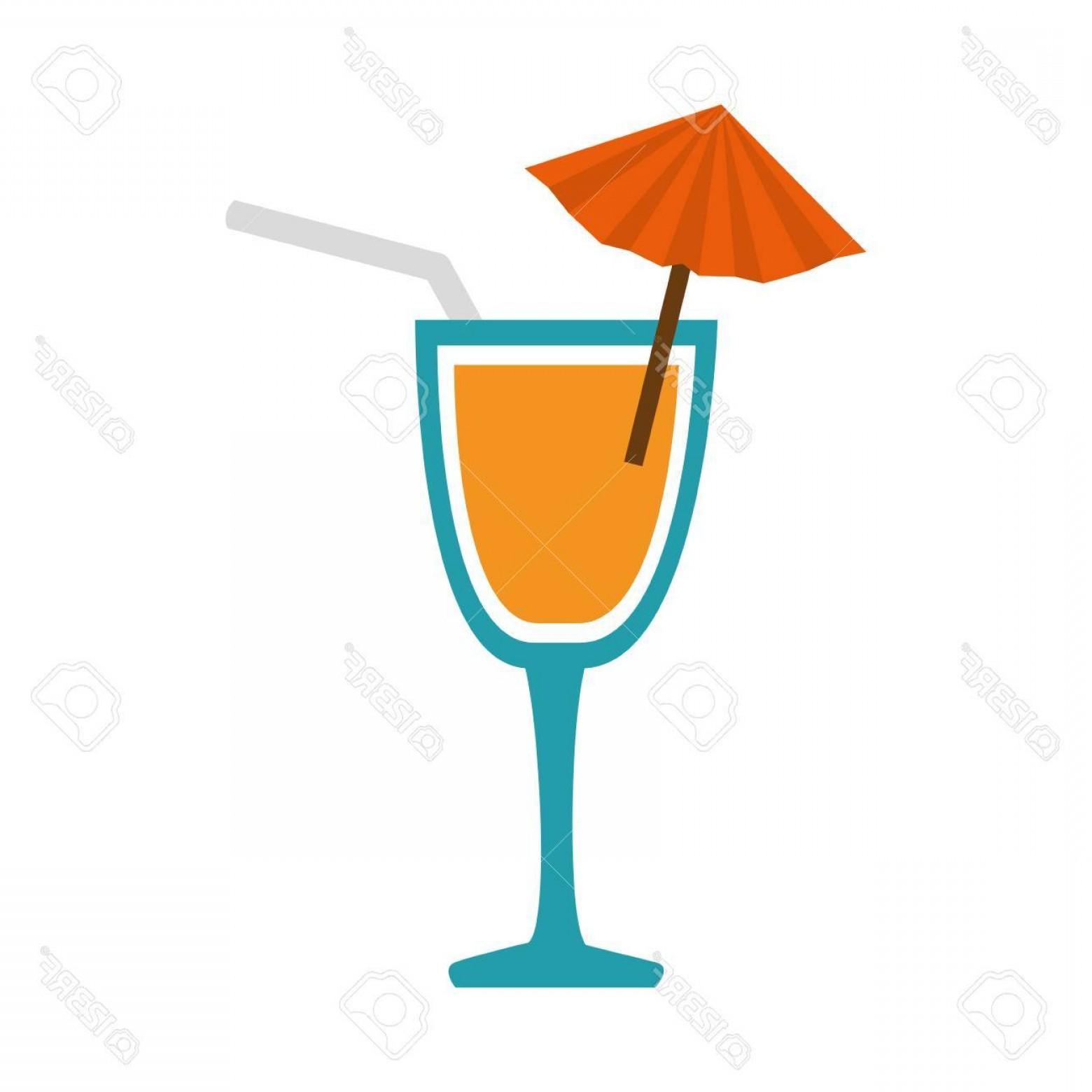 1560x1560 Photostock Vector Cocktail Cup Straw Alcohol Drink Beverage Vector